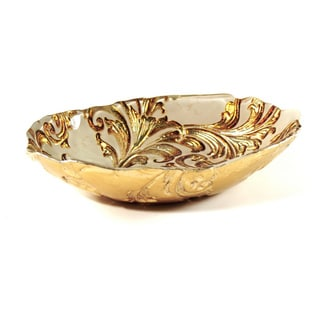 Vanessa Beige/ Gold Decorative Serving Bowl