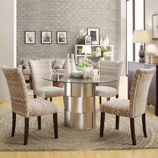 INSPIRE Q Elbridge 5-piece Woven Drum Grey Chevron Dining Table