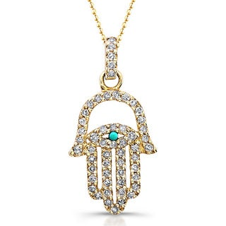 14k Yellow Gold 1/4ct TDW Diamond and Turquoise Accent Hamsa Charm Pendant (J-K, I2-I3)