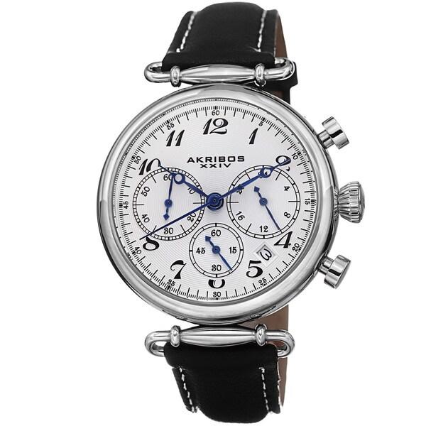 Akribos XXIV Women's Chronograph Leather Black Strap Watch 12558151