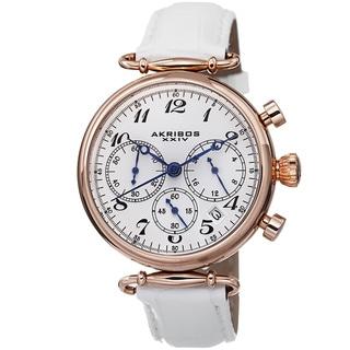 Akribos XXIV Women's Chronograph Genuine Leather Strap Watch