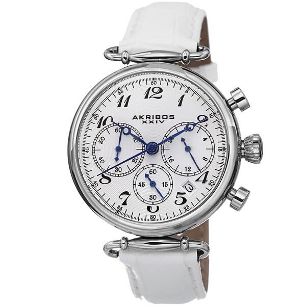 Akribos XXIV Women's Chronograph Leather Silver-Tone Strap Watch 12558153
