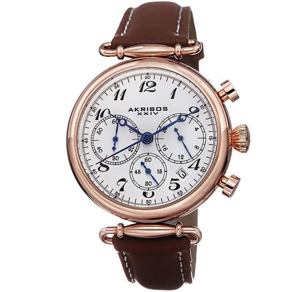 Akribos XXIV Women's Chronograph Leather Strap Watch with GIFT BOX 12558154