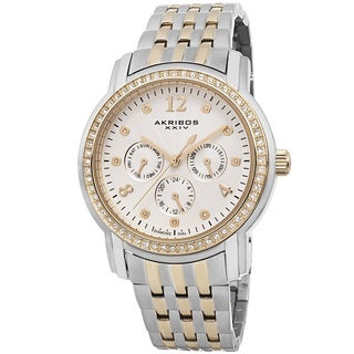 Akribos XXIV Women's Multifunction Diamond-Dial Stainless Steel Bracelet Watch