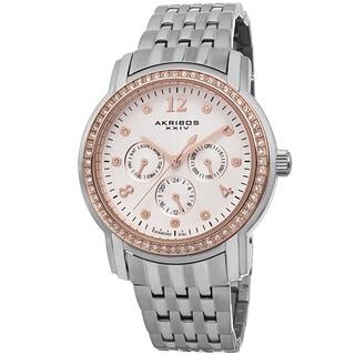 Akribos XXIV Women's Multifunction Diamond-Dial Stainless Steel Bracelet Watch