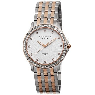 Akribos XXIV Women's Genuine Diamond Stainless Steel Bracelet Watch