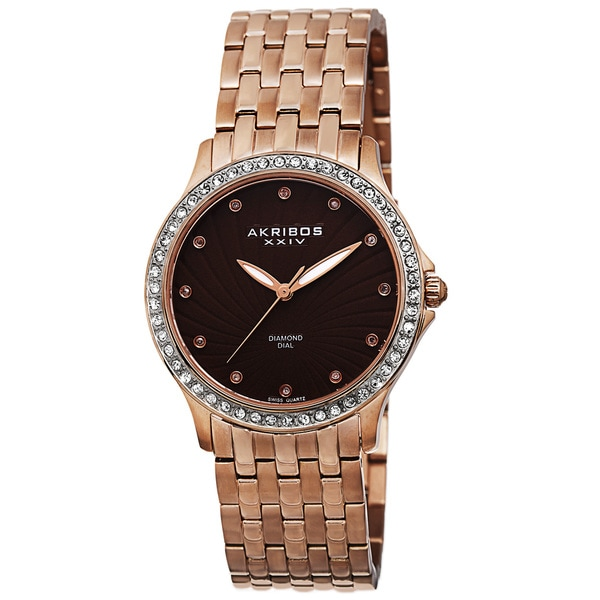 Akribos XXIV Ladies Genuine Diamond Stainless Steel Bracelet Watch