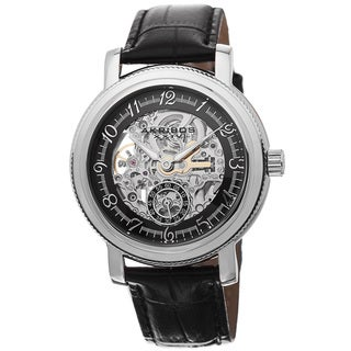 Akribos XXIV Men's Automatic Movement Skeleton Dial Leather Silver-Tone Strap Watch