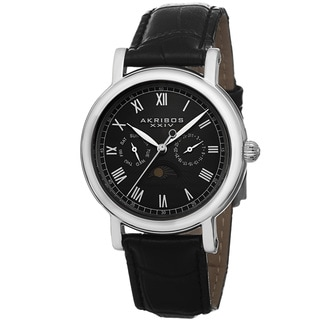 Akribos XXIV Men's Quartz Multifunction Leather Strap Watch