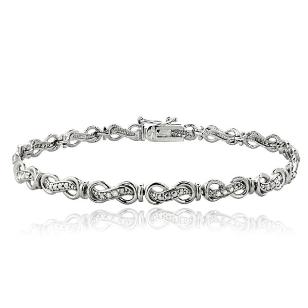 DB Designs Sterling Silver 1/4ct TDW Diamond Infinity Link Bracelet (I-J, I2-I3)