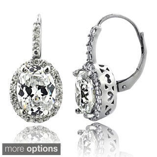 Icz Stonez 4ct TGW Cubic Zirconia Oval Halo Leverback Earrings