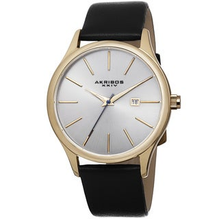Akribos XXIV Classic Men's Sunray Dial Genuine Leather Strap Watch