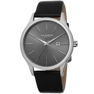 Akribos XXIV Classic Men's Sunray Dial Leather Silver-Tone Strap Watch