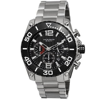 Akribos XXIV Men's Date Chronograph Stainless Steel Black Bracelet Watch