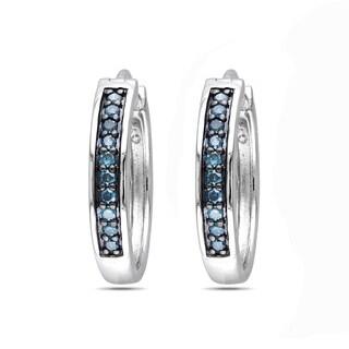 Haylee Jewels Sterling Silver 1/3ct TDW Blue Diamond Hoop Earrings