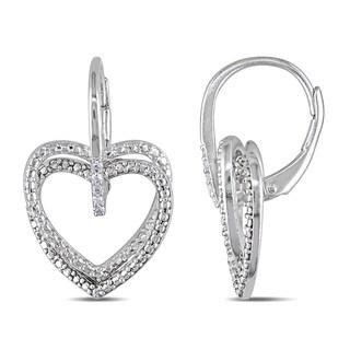 Haylee Jewels Sterling Silver Diamond Accent Heart Dangle Earrings