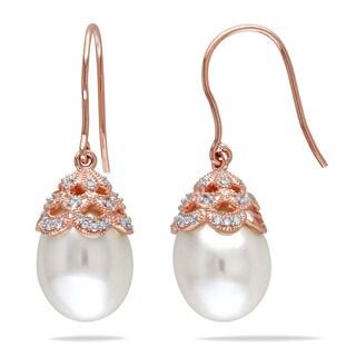 Miadora 10k Rose Gold Cultured Freshwater Pearl and 1/10ct TDW Diamond Dangle Earrings (H-I, I2-I3)