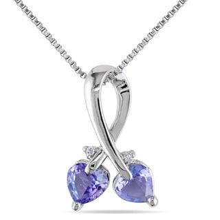 Miadora Sterling Silver Tanzanite and Diamond Accent Heart Necklace