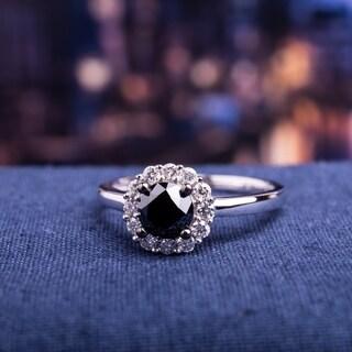 Miadora 10k White Gold 1ct TDW Black and White Halo Diamond Ring (H-I, I2-I3)