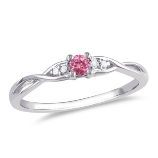 Miadora Sterling Silver 1/6ct TDW Pink and White Diamond Ring (G-H, I1-I2)