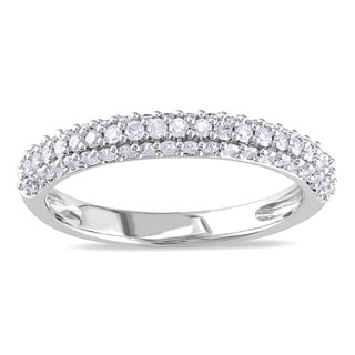 Miadora 10k White Gold 1/2ct TDW Pave Diamond Band (H-I, I2-I3)