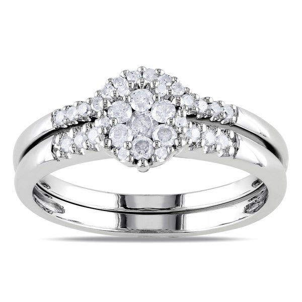 Miadora Sterling Silver 1/3ct TDW Diamond Cluster Bridal Ring Set (H-I, I2-I3)