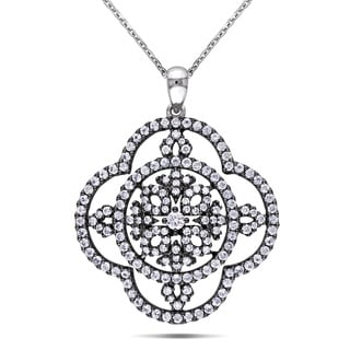 Miadora 14k White Gold Sapphire and 1/2ct TDW Diamond Necklace (G-H, I1-I2)