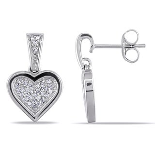 Miadora 14k White Gold 1/5ct TDW Diamond Heart Earrings (I-J, I2-I3)