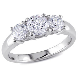 Miadora 14k White Gold 1 1/4ct TDW 3-stone Diamond Engagement Ring (H-I, SI1-SI2)