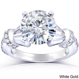 Annello 14k Gold Round-cut Moissanite and 1/8ct TDW Diamond Engagement Ring (G-H, I1-I2)