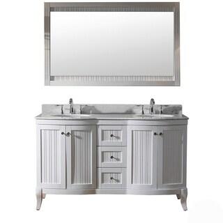 Virtu USA Khaleesi 60-inch White Vanity with Carrara White Marble Countertop