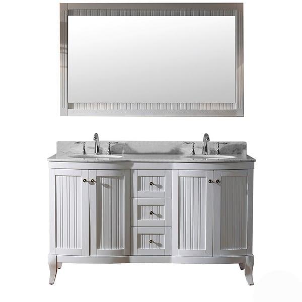 Virtu Usa Khaleesi  Inch White Vanity With Carrara White Marble Countertop Free Shipping
