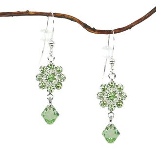 Jewelry by Dawn Peridot Green Crystal Flower Drop Earrings