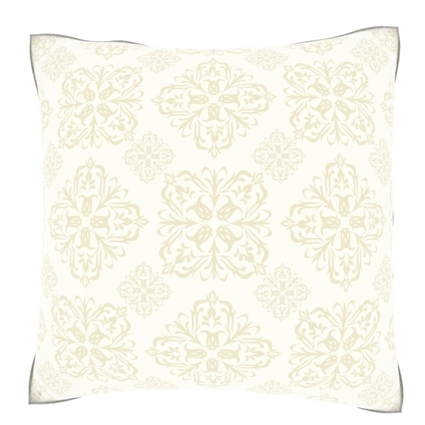 Beige Baroque 18-inch Velour Throw Pillow