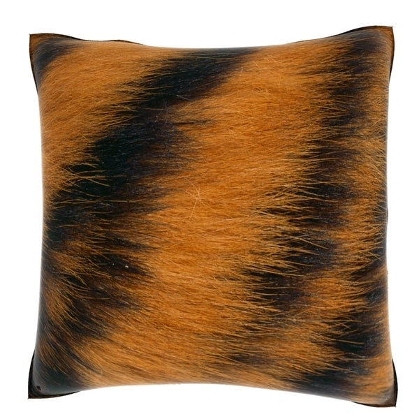 Tiger Fur Print 18-inch Velour Throw Pillow