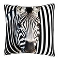 Zebra Against Stripes 18-inch Velour Throw Pillow