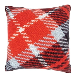 Abstract Red Checkered Pattern 18-inch Velour Throw Pillow