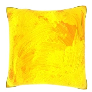 Abstract Yellow Painted Pattern 18-inch Velour Throw Pillow