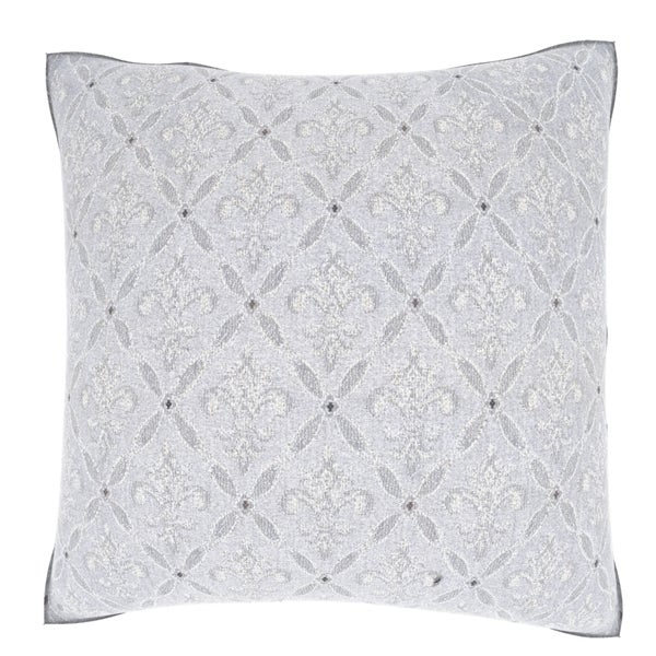 Light Grey Damask 18-inch Velour Throw Pillow
