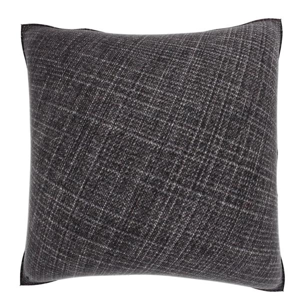 Dark Grey Weaved Texture 18-inch Velour Throw Pillow