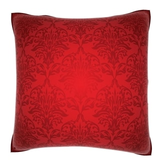 Red Damask 18-inch Velour Throw Pillow