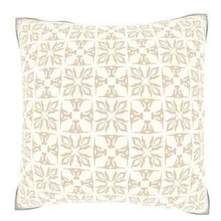 Classic Beige/ Cream Pattern 18-inch Velour Throw Pillow