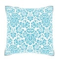 Blue Damask Pattern 18-inch Velour Throw Pillow