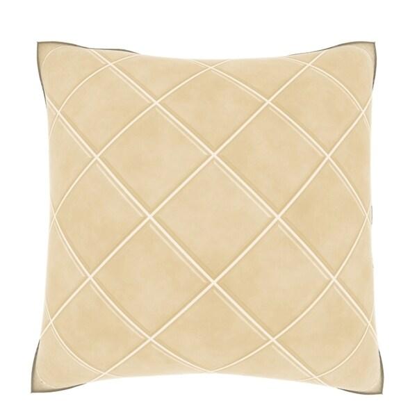 Cream Ceramic Tile 18-inch Velour Throw Pillow