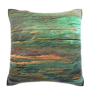 Rustic Green Wood 18-inch Velour Throw Pillow