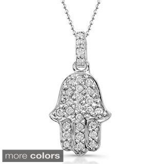 Victoria Kay 14k Gold 1/8ct TDW Diamond Hamsa Charm Necklace (J-K, I2-I3)