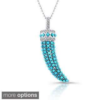 14k Gold 1/8ct TDW White Diamond and Turquoise Horn Pendant (J-K, I2-I3)
