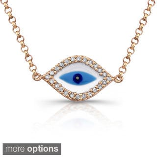 14k Gold 1/10ct TDW Diamond Evil Eye Necklace (J-K, I2-I3)