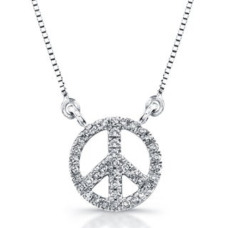 14k White Gold 1/8ct TDW Diamond Mini Peace Sign Necklace (J-K, I2-I3)