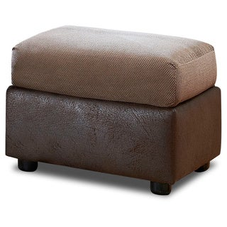Made To Order Aldridge Two-tone Tobacco/ Mocha Upholstered Ottoman